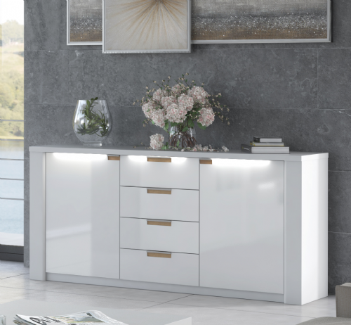 Ice White High Gloss Wide Sideboard P9RXAR46 - 2912